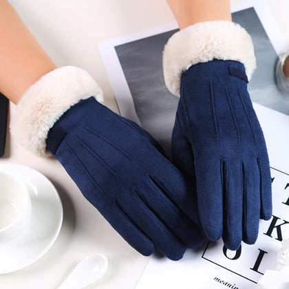 Autumn Cycling Women Gloves Velvet Keep Warm Touch Screen Gloves Full Finger Windproof Winter Gloves mittens Guantes Muje - Go Buy Dubai