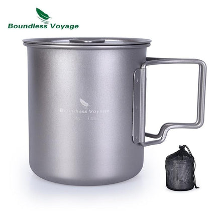 Boundless Voyage 420ml Titanium Cup With Cup Lid Camping Mug Outdoor Water Tea Cup - Go Buy Dubai