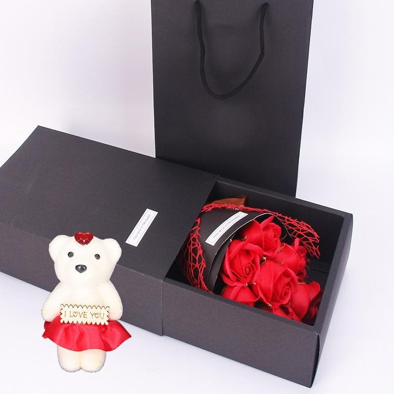 Forever Rose Flower Artificial 7 Rose Soap Flower Gift Box Small Bouquet Gift Christmas Valentine Bouquet Gift For Girlfriend