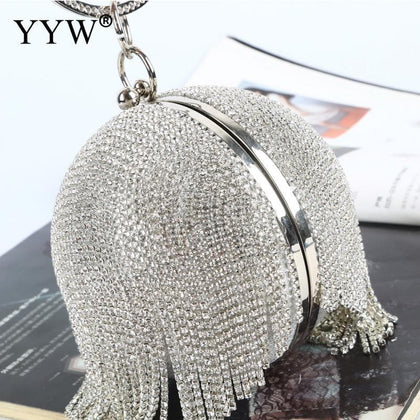 Sliver Diamonds Rhinestone Round Ball Evening Bags For Women 2020 Fashion Mini Tassels Clutch Bag Ladies Ring Handbag Clutches - Go Buy Dubai
