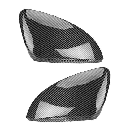 2 pieces For VW Golf MK7 7.5 GTI 7 7R Mirror Covers Caps RearView Mirror Case Cover Carbon Look Bright Black Matte Chrome Cover - Go Buy Dubai