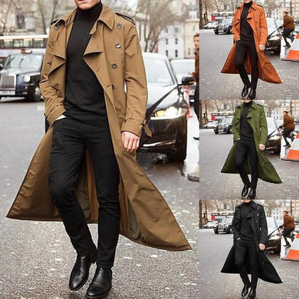 Spring Thin Men Trench Coat New Slim Fit Double-breasted Lapel Long Coats Windbreaker Fashion Male Solid Long Trench Overcoat - Go Buy Dubai