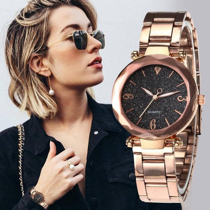 Personality Romantic Women Watches 2020 Sell Star Sky Dial Clock Luxury Rose Gold Bracelet Wrist Ladies Watches reloj mujer - Go Buy Dubai