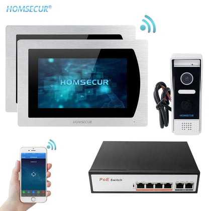 7'' Touch Screen WIFI IP Video Door Phone Video Intercom Doorbell Apartment Motion Detection Android/iOS POE Switch - Go Buy Dubai