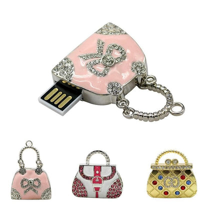 Metal Crystal Handbag Bag Mini Cute U Disk Pendrive 64GB 128GB 16GB 32GB Pen drive usb stick 4GB 8GB memoria usb key flashdisk - Go Buy Dubai