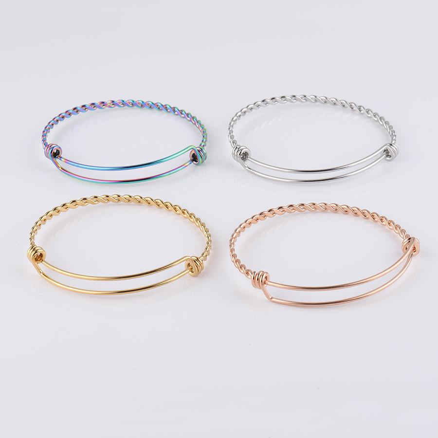 Fnixtar Stainless Steel Twist Wire Bangle Bracelet  Adjustable Women Wire Bracelet Jump Ring For Free 55/60/ 65mm 50piece/lot