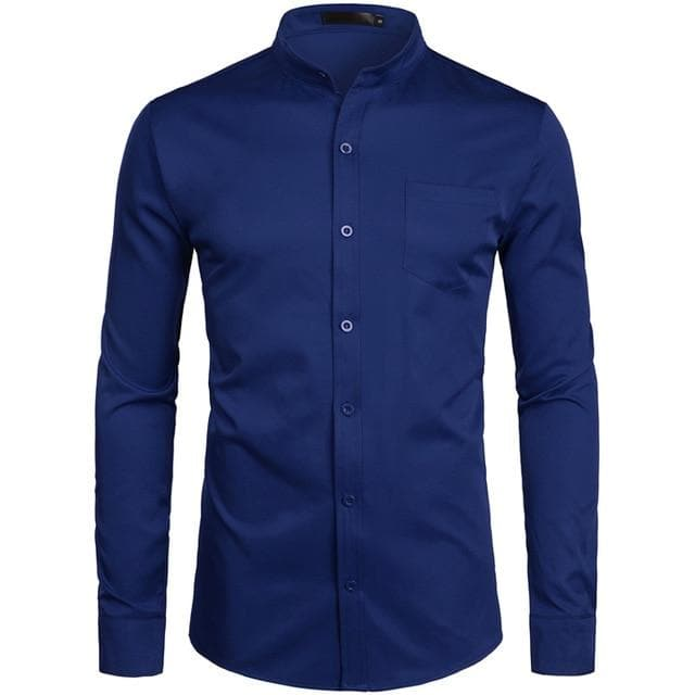 Men's Royal Blue Dress Shirts 2019 Brand Banded Mandarin Collar Shirt Male Long Sleeve Casual Button Down Shirt with Pocket 2XL