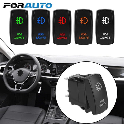 FORAUTO Car Dashboard Button Connector 5 Pin Illuminated ON-OFF LED Rocker Switch Fog Light Switch Automobile Modification - Go Buy Dubai