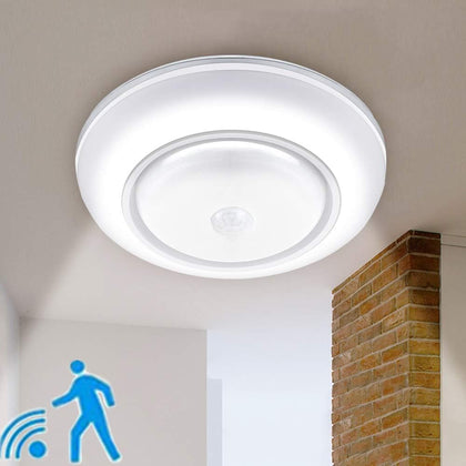 Wireless Motion Sensor Ceiling Light Battery Operated Sensing Activated LED Lamp Entrance Closet Stairs Hallway Garage Bathroom - Go Buy Dubai