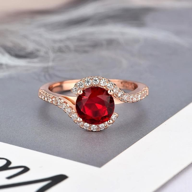 Classic Ring for Women  Round shaped Emerald Ruby Zircon Gemstones