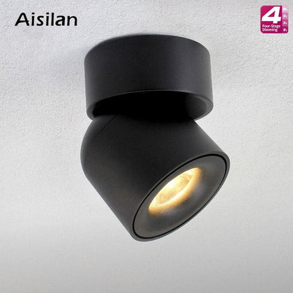 Aisilan Led Surface Mounted Ceiling Dimmable Downlight Adjustable 90 degrees Spot light for indoor Foyer,Living Room AC 90-260V - Go Buy Dubai