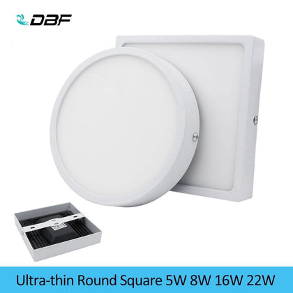 [DBF]5W/8W/16W/22W Round/Square LED Panel Light Surface Mounted Downlight Lighting LED Ceiling Panel Light with AC85-265V Driver - Go Buy Dubai