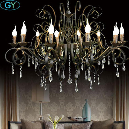 Modern Crystal Chandelier 10 light black crystal raindrop decor large Chandeliers for Living Room Home Lighting Indoor Lamp - Go Buy Dubai