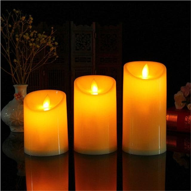 Dancing flame LED night light Candles Wax Pillar Candle lamp for Wedding Christmas Decoration party decoration