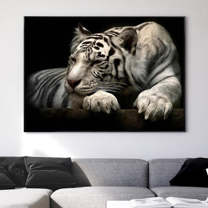 White Tiger Painting Wall Art Canvas Paintings Posters and Prints Wildlife Animals Wall Art Pictures Living Room Home Decor - Go Buy Dubai