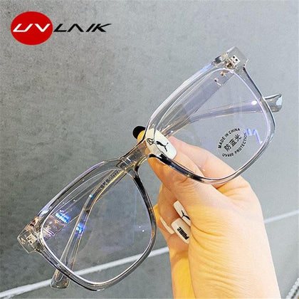 UVLAIK Anti Blue Light Women's Men's Eyewear Frame Square Myopia Frames Spectacles Frames Ladies Transparent Optical Eye Glasses - Go Buy Dubai