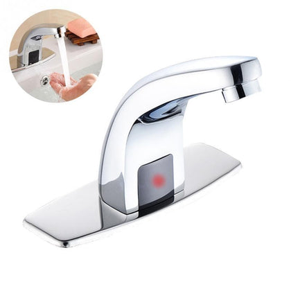 Basin Electric Sensor Faucet Saving Water Automatic Stainless Steel Bathroom Tap Hands Free For Kitchen Home Use - Go Buy Dubai