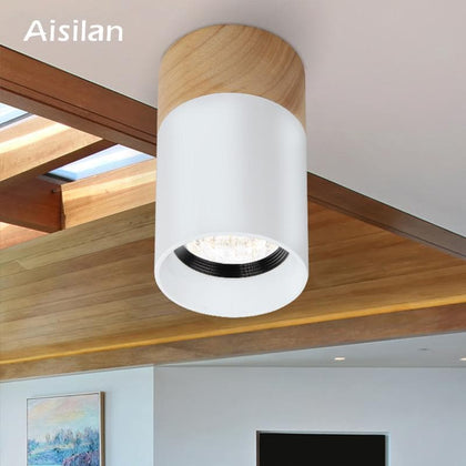 Aisilan Wood LED Downlight Surface Mounted Ceiling Lamp for Home Lighting Living Room Bedroom Kitchen Hallways AC85V-265V  Warm - Go Buy Dubai