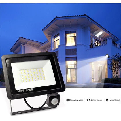 PIR Motion Sensor LED Floodlight 10W 20W 30W 40W 50W Waterproof Led Spotlight For Garden Wall Street Outdoor Lighting AC220V - Go Buy Dubai
