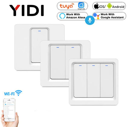 WiFi Smart Light Wall Switch Push Button Smart phone APP Remote Control Voice Control Smart Life Tuya 1/2/3 gang Switch - Go Buy Dubai
