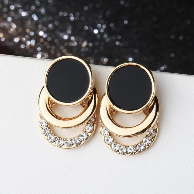 Crystal Imitation Pearl Stud Earrings For Women Elegant Multi-layer Circles