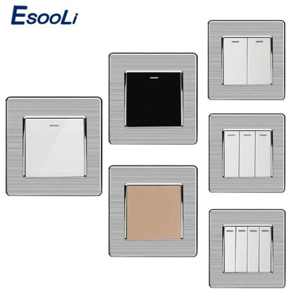 Wall Switches 1/2/3/4 Gang Button LED Lamp Light Switch On / Off Wall Switch Push Button Interruptor Stainless Steel Panel - Go Buy Dubai