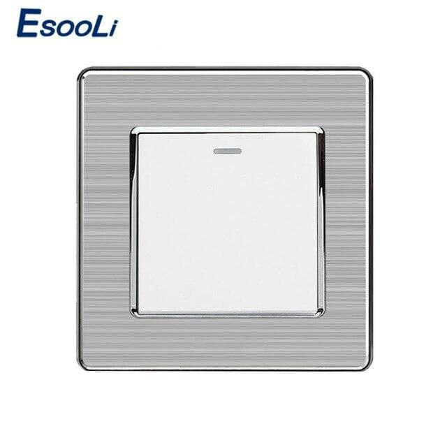 Esooli 1 Gang 1 Way Luxury Light Switch On / Off Wall Switch Interruptor Stainless Steel Panel AC 110~250V