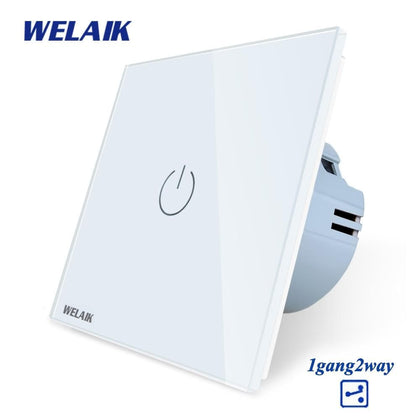 WELAIK EU 1gang2way Stairs Touch-Switch Crystal-Glass-Panel-Switch-Wall-Switch Smart-Intelligent Light-Switch  AC250V A1912CW - Go Buy Dubai