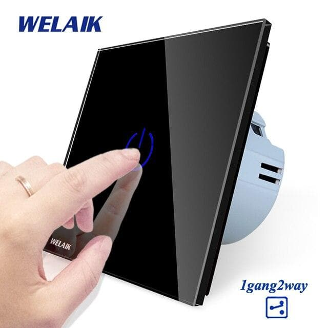 WELAIK EU 1gang2way Stairs Touch-Switch Crystal-Glass-Panel-Switch-Wall-Switch Smart-Intelligent Light-Switch  AC250V A1912CW