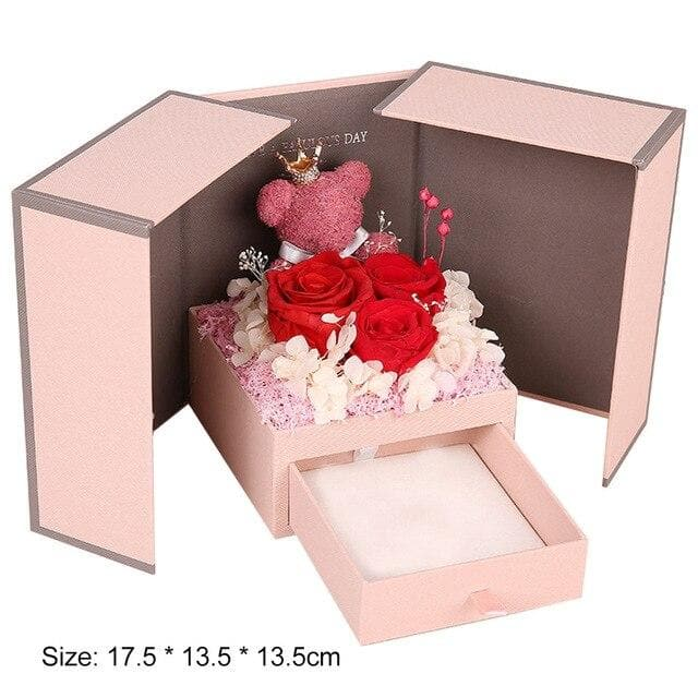 Romantic Artificial Rose Flower Bear Boxes Practical Jewelry Storage Presents Box for Anniversary Wedding Valentine