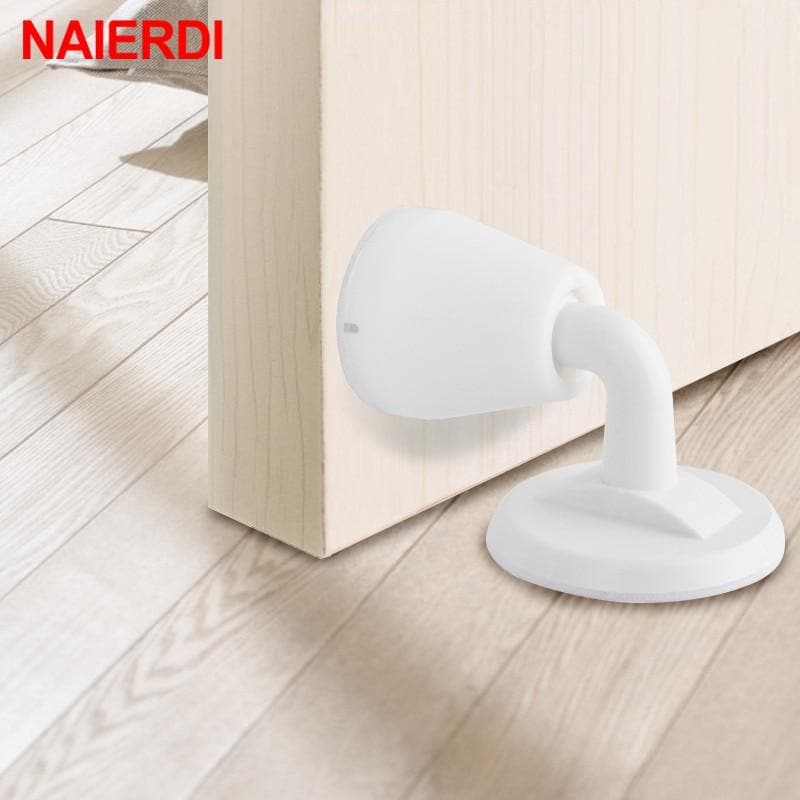 NAIERDI ABS Silicone Door Stopper Non Punching Sticker Hidden Door Holders Self Adhesive Door Stop Wall Protectors