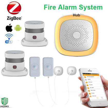 Smoke and water alarm mobile notification wifi fire alarm system with water sensor and approved smoke detectors - Go Buy Dubai