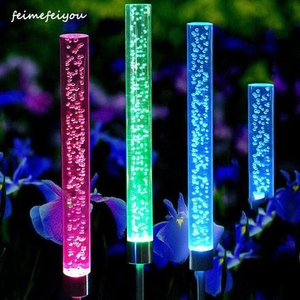 Garden Solar Lights Outdoor Bubble Tube Stick Lights Solar Acrylic RGB Multi Color Changing Lights Waterproof LED Lights Decor - Go Buy Dubai