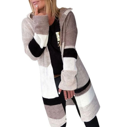 long kniting sweater for Women patchwork Casual autumn sweater with hooded long Knit Sweater Cardigans Coat - Go Buy Dubai