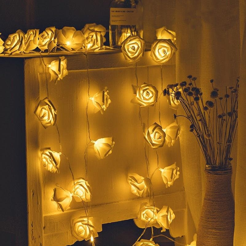 2M 20LED Battery operated LED Rose Flower light Christmas holiday String Lights for Valentine Wedding party Garland Decoration