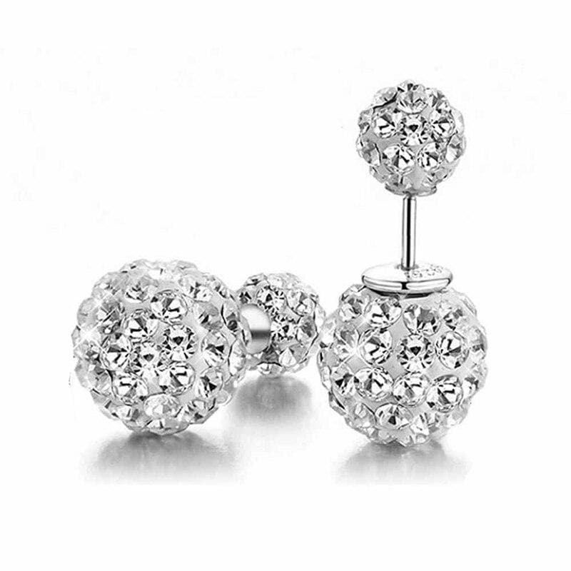 Crystal Ball Simulated Pearl Jewelry Trendy Stud Earrings