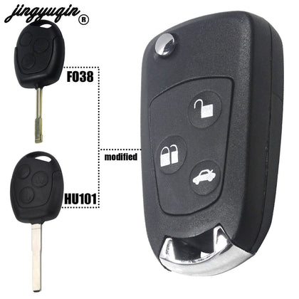 jingyuqin New FO38/HU101 blank 3 Buttons Modified Folding Remote Key Flip Fob Shell For FORD FOCUS MONDEO Fiesta - Go Buy Dubai