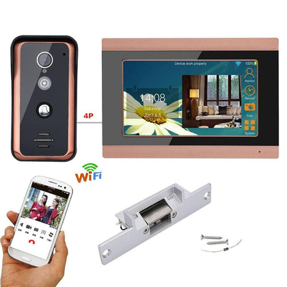2020 New 7 inch Wired Wifi Video Door Phone Doorbell Intercom Entry System with Electric Strike Lock - Go Buy Dubai