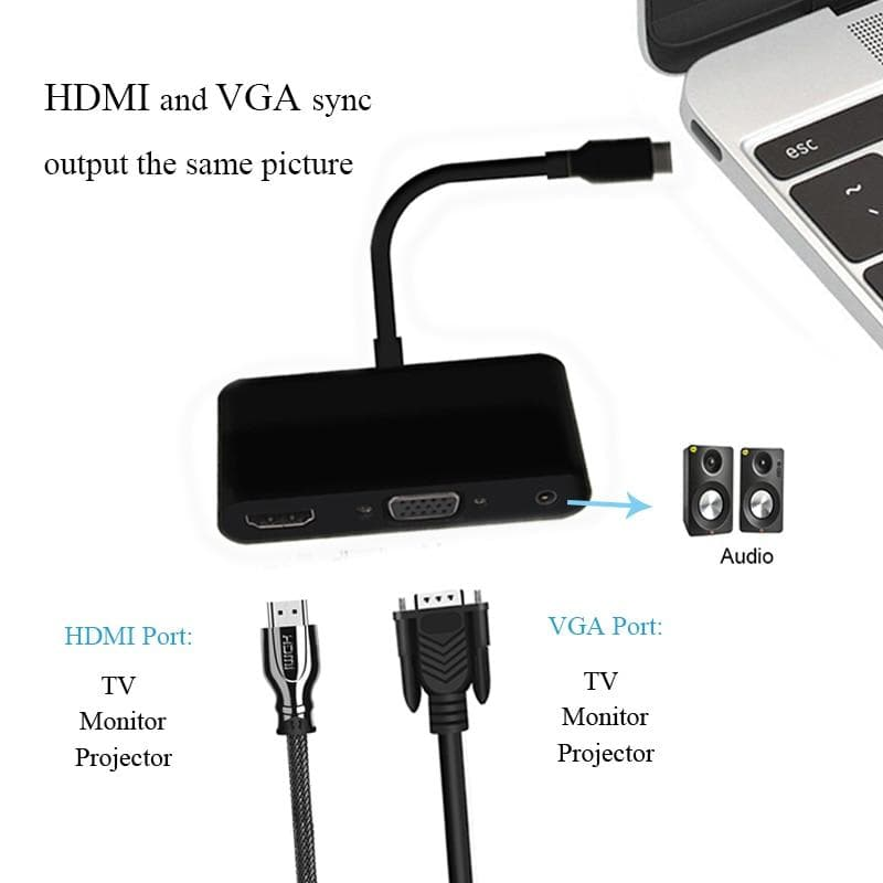 3 in 1 USB-C Hub Type C to 4K 1080p HDMI USB3.0 VGA 3.5mm Audio Adapter For Macbook laptop headphone