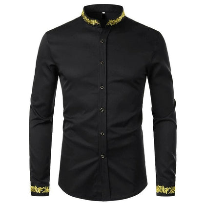 Black Gold Embroidery Shirt Men 2020 Spring New Mens Dress Shirts Stand Collar Button Up Shirts Chemise Homme Camisa Masculina - Go Buy Dubai