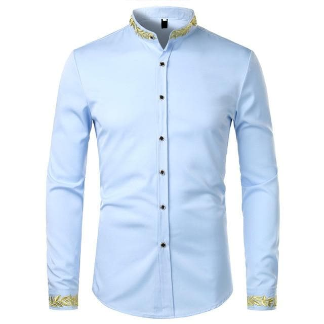 Black Gold Embroidery Shirt Men 2020 Spring New Mens Dress Shirts Stand Collar Button Up Shirts Chemise Homme Camisa Masculina