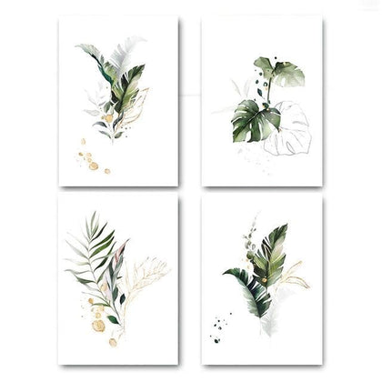 Watercolor Plant Canvas Poster Leaf Botanical Art Print Minimalist Painting Nordic Style Picture Modern Living Room Decoration - Go Buy Dubai