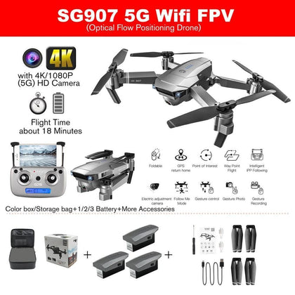 SG907 GPS Drone with 4K/1080P HD Camera 5G Anti-shake FPV RC Helicopter Gesture Photo Professional Drone RC Toy Machine - Go Buy Dubai