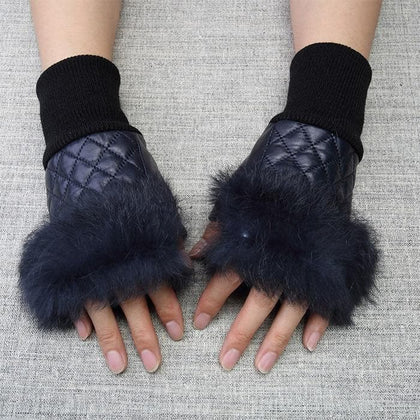High Quality Elegant Women Leather Gloves Genuine Fingerless With Real Fur Autumn Spring Thermal Hot Trendy Female Glove G576 - Go Buy Dubai