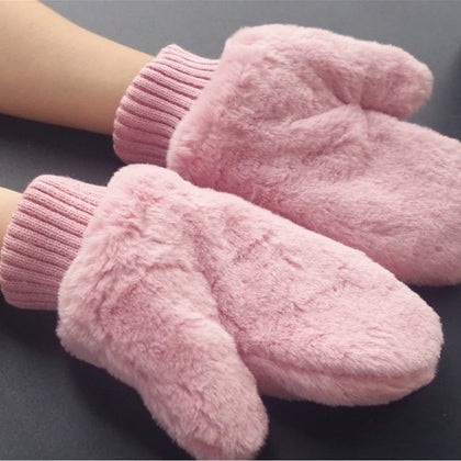 Pink Women Winter Gloves Pure Color Rabbit Fur Mittens Soft Warm Female Gloves Knitted Wool Gloves For Girls T3 - Go Buy Dubai