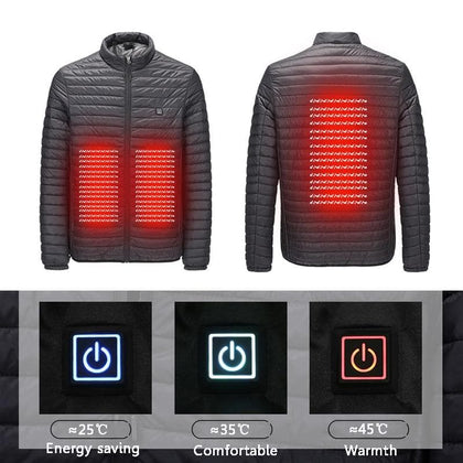 2019 New Infrared USB Heated Down Jacket Men Thermal Outdoor Electric Battery Abdominal Back Heating Long Sleeves Winter Clothes - Go Buy Dubai