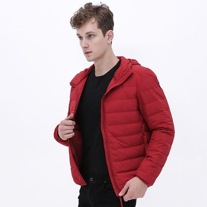 New Man Ultra Light Down Jacket Hooded Soft Matt Fabric Waterproof Down Jackets Seamless Winter Autumn Warm Down Coat - Go Buy Dubai