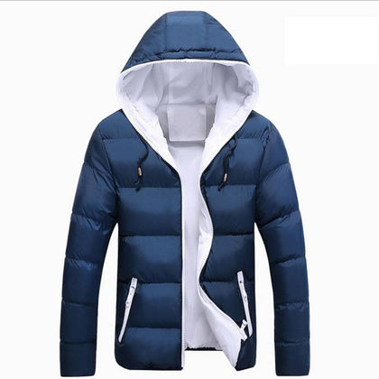 Hooded Winter Warm COAT Navy Blue Men Soft Duck Down Jacket Full Sleeve Outdoor Thicken Male Snow-overcoat  Big Size 3XL 4XL - Go Buy Dubai