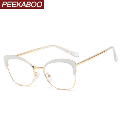Peekaboo white female glasses frames cat eye metal retro eyeglass frames for women prescription accessorries clear lens pink red - Go Buy Dubai