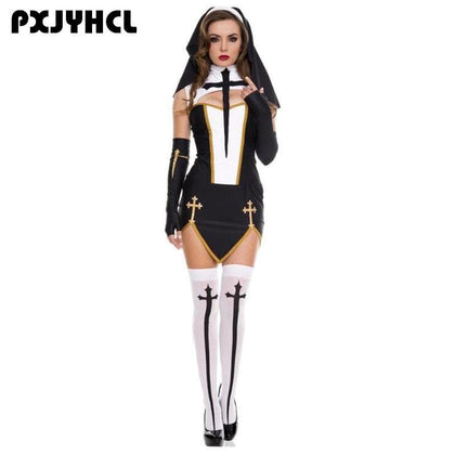 Hot Halloween Costume Adult Nun Cosplay Sister Uniform Fantasias Female Dress Festival Party Disguise Role Play Games Wear - Go Buy Dubai